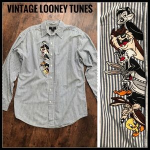 Vintage Looney Tunes Embroidered Button Down Shirt